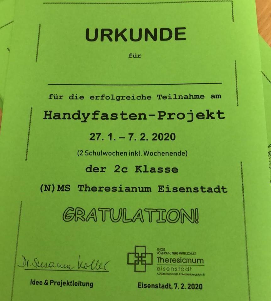 projekt handyfasten urkunde neue mittelschule theresianum eisenstadt projekttage koller