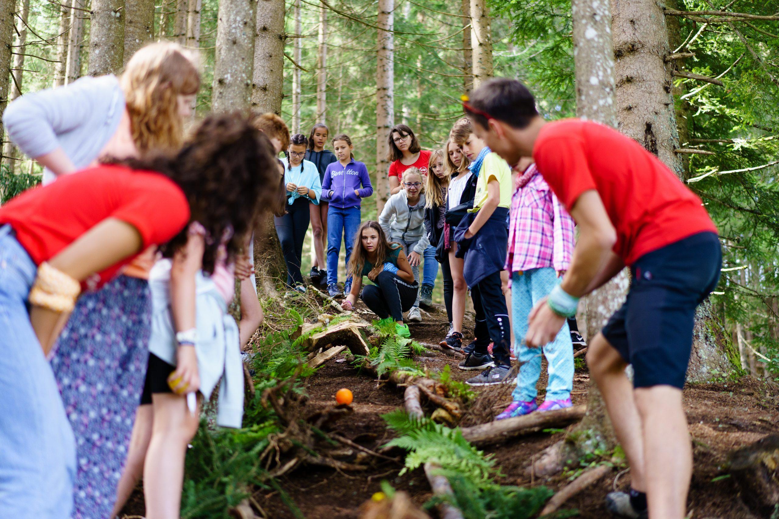 Schulklasse beim Kugelbahnbau in der Natur